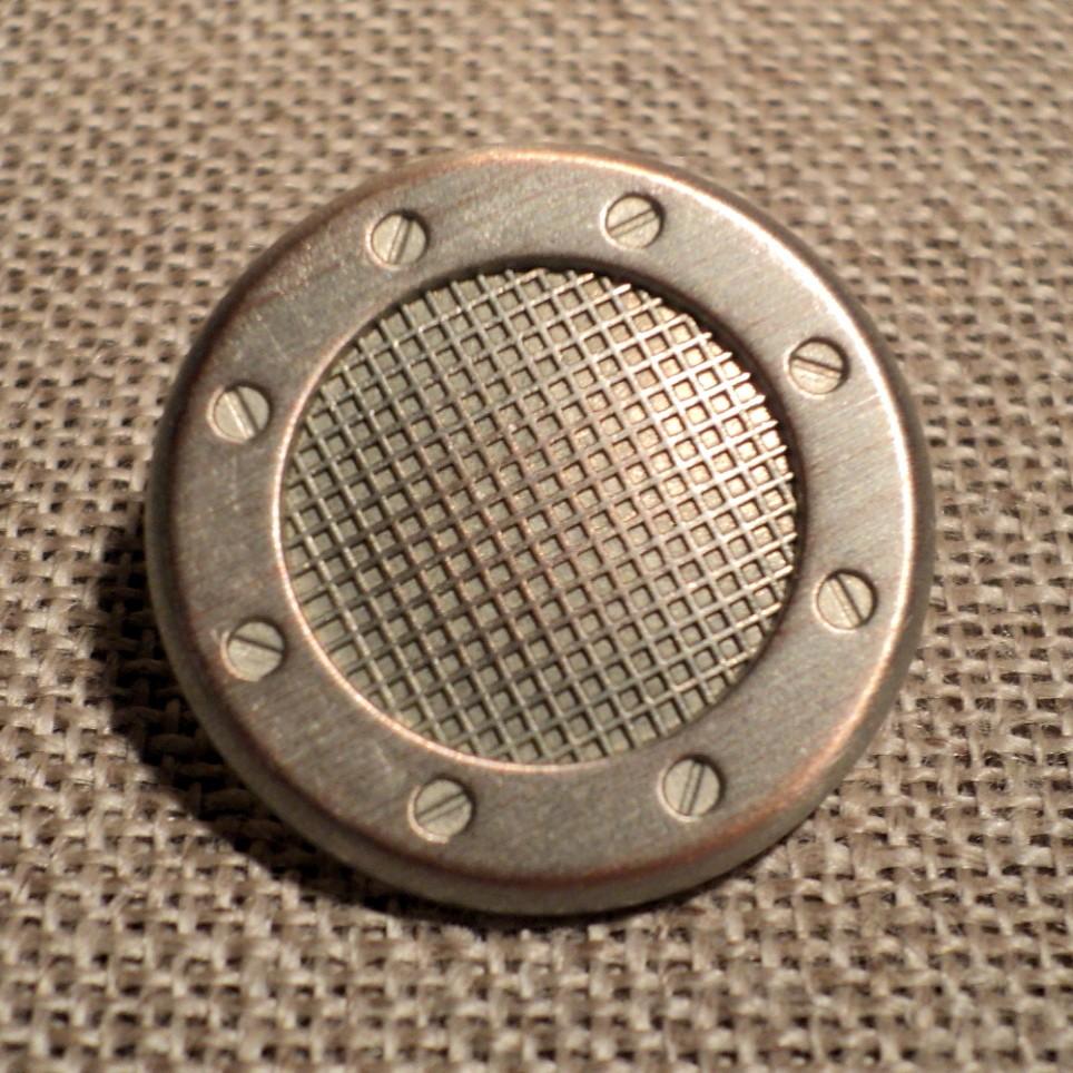 Bouton Caban Marin métal argenté avec hublot bateau 23mm