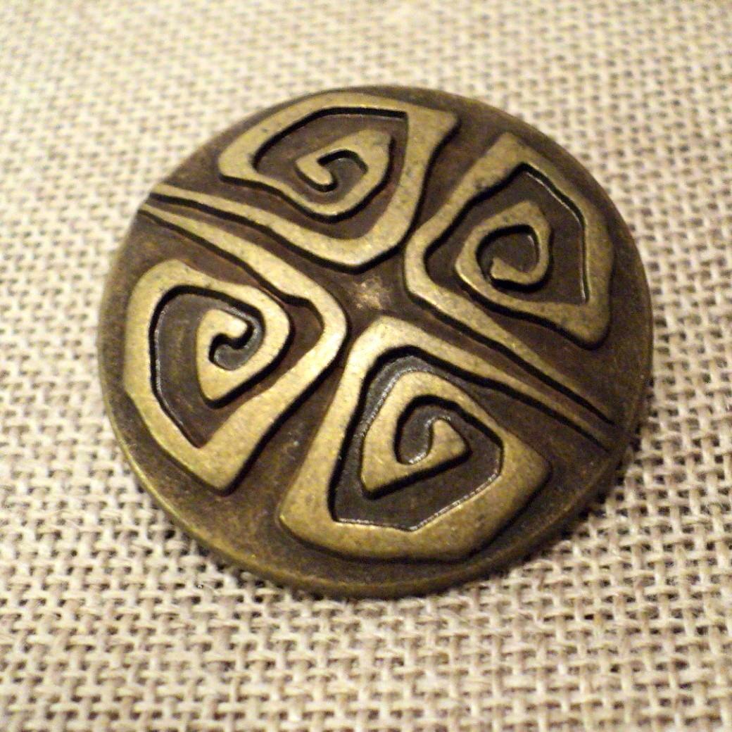 Bouton folklorique métal relief bronze 28mm