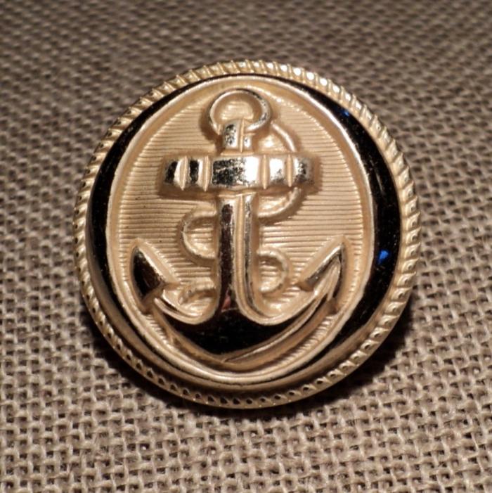 Bouton métal Caban Marin argenté avec ancre 25mm