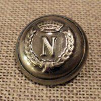 Bouton métal argenté ancien Napoléon couronne de laurier 20mm