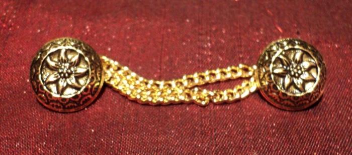 """Bouton métal avec chainette tyrolien """"Edelweiss"""" dorè 14mm"""