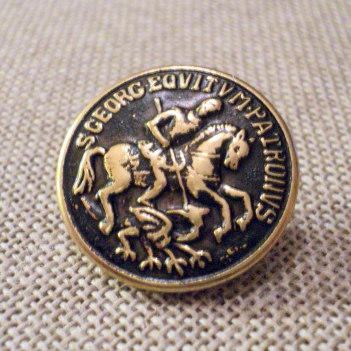 Bouton métal blason doré Saint Georges terrassant le dragon 22mm