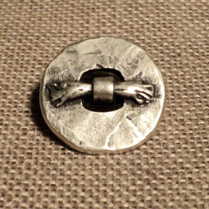 Bouton noeud métal argenté ancien 19mm pour blazer contemporain