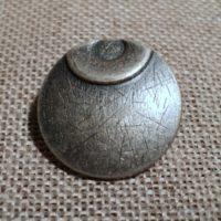 Bouton planète métal argenté ancien 20mm pour blazer contemporain