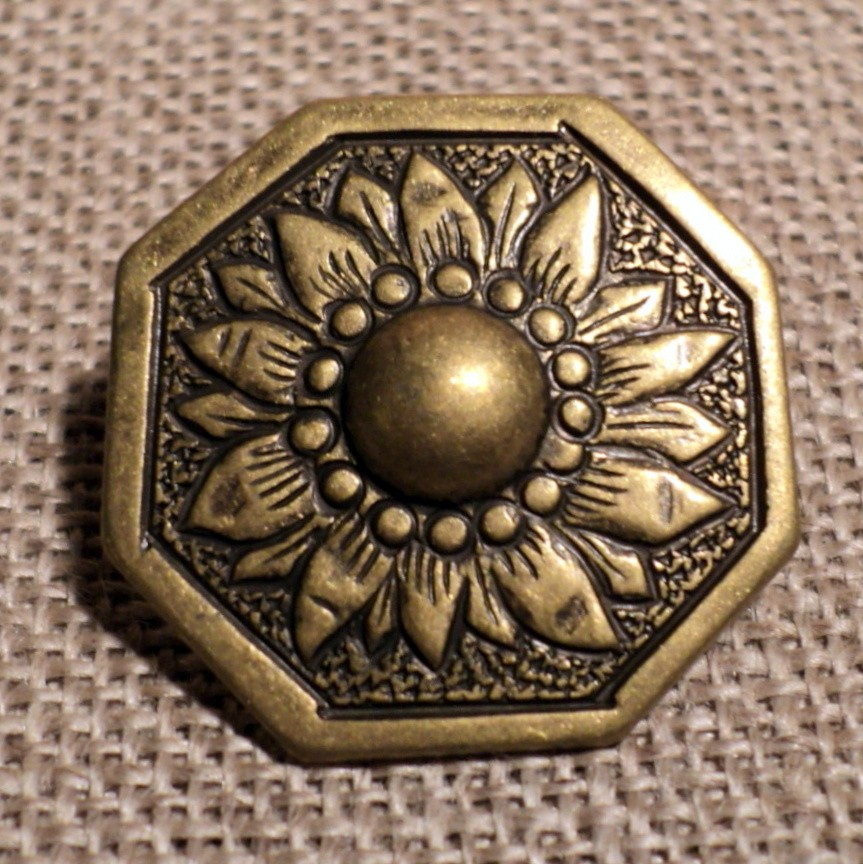 Bouton tournesol métal relief bronze 21mm