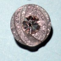 Bouton transparent argenté strass bling 12mm
