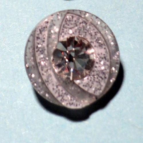 Bouton transparent argenté strass bling 12mm