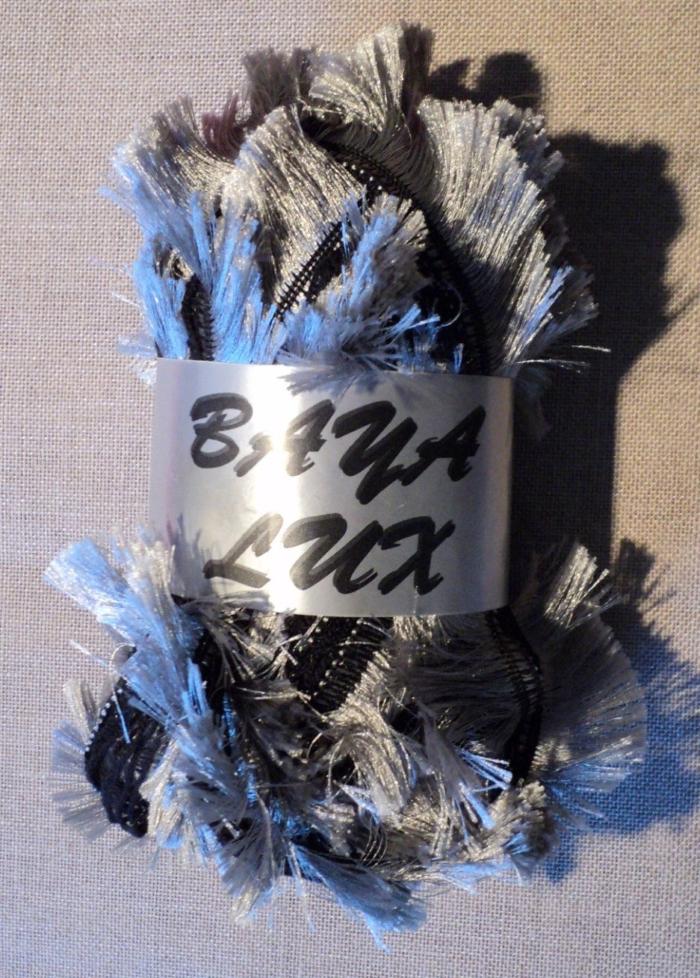 Ruban Laine frange gris/noir 150 gr Baya Luxe