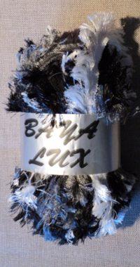 Ruban Laine frange gris/noir/blanc 150 gr Baya Luxe