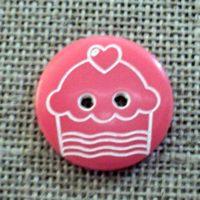 Bouton enfant 18mm 2-trous rose fuchsia cupcake