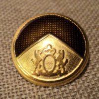 Bouton métal blason doré 21mm avec lions et couronne