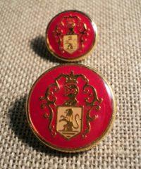 Bouton métal doré rouge 15/20mm avec blason lion
