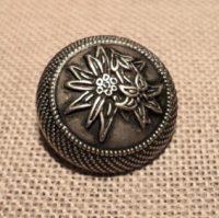 """Bouton métal tyrolien """"Edelweiss"""" argenté 22mm"""