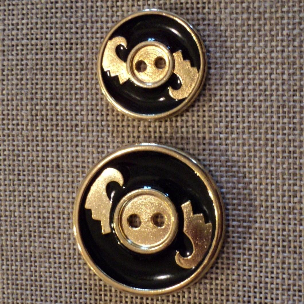 Bouton manteau classique doré noir 20mm/28mm métal 2-trous