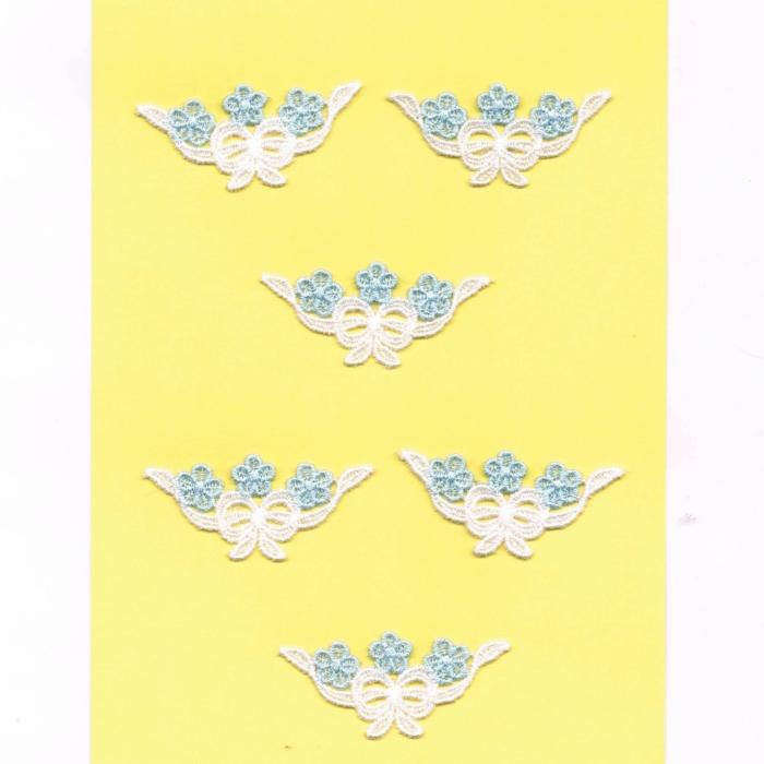Ecussons Dentelle blanc fleurs 6 pieces à coudre