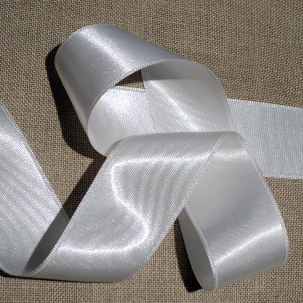 Ruban satin blanc 40mm double face satin vendu au mètre