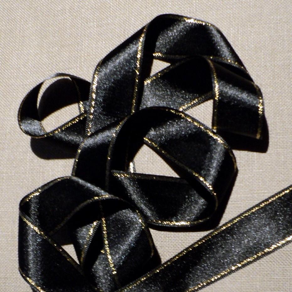 Ruban satin noir 30mm double face satin avec rayure doré